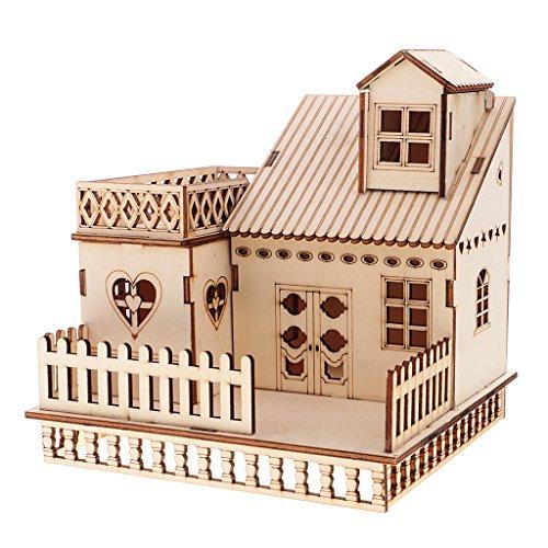 Homyl Mini 3D Villa Haus Modell Bausatz aus Holz mit LED Lichter, pädagogisches Spielzeug für Kinder ab 3 Jahren - # 1, 14.9x14x15.4cm (Puppenhaus-bausätze Aus Holz)