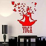 yaoxingfu Yoga Centre Pose Lotus Méditation Bouddhisme Vinyle Home Decor Stickers Muraux Amovible Mural Papillon Stickers ww-2 57x70cm