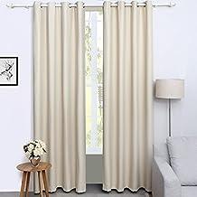 Songmics Cortinas 2 piezas Blackout curtain opaca con ojales 145 x 245 cm Beige LRB245E-2