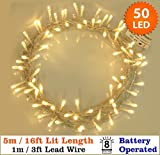 Fairy Lights 50 Warm White Christmas Tree Lights Indoor & Outdoor LED String Lights - Battery Operated - 8 Functions 5m/16 ft Lit Length with 1m Lead Wire - Ideal for Christmas tree Decorations