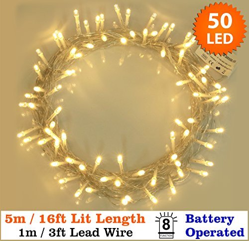 fairy lights 50 warm white christmas tree lights indoor outdoor led string lights battery