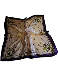 """Small Square autumn leaves with border print silk satin feel ladies fashion neck, head scarf 19""""x19"""" - by Fat-Catz-copy-catz"""