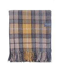 The Tartan Blanket Co. Couverture recyclée en laine – style tartan écossais Buchanan Natural