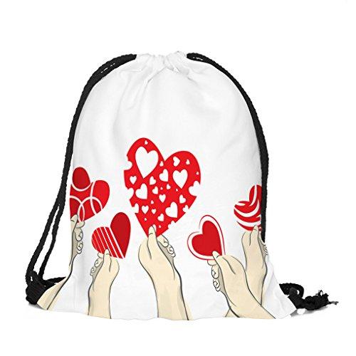 Dorical Kordelzug Rucksack Bag (39 x 32 cm) Valentinstag-Kordelzugbeutel Bunter Happy Cute 3D Gedruckt Rucksack/Sport-Gymnastikreisetasche Beutel Sportbeutel Tasche für Damen und Herren