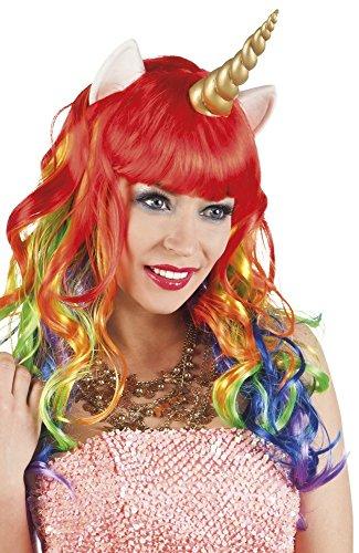 Bunte Einhorn-Perücke mit goldenem Horn Unicorn Wig Damen Märchen Kostüm (Märchen Kostüme Accessoires)