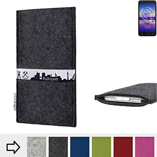 flat.design für Alcatel U5 HD Single SIM Schutzhülle Handy Tasche Skyline mit Webband Ruhrpott - Maßanfertigung der Schutztasche Handy Hülle aus 100% Wollfilz (anthrazit) für Alcatel U5 HD Single SIM