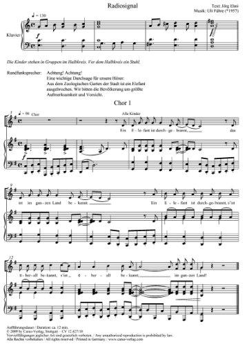 EIN ELEFANT IST DURCHGEBRANNT   CHILDREN´S CHOIR AND PIANO   SCORE