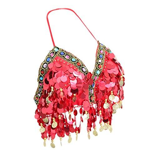 Top Dance Kostüm - MagiDeal Damen Chiffon Bauchtanz Kostüm Pailletten Oberteil Top BH Belly Dance Skirt Tanzbekleidung - Rot, M