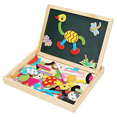 Smibie Puzzle Tafel Magnet Holzpuzzle Tafel mit magnetischen Holzpuzzlen magnetische Spieltafel Holzspielzeug KInder Pädagogische Lernspiel Doodle Holzkasten tolles Geschenk für Kinder