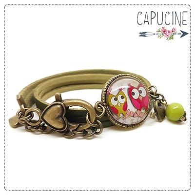 Bracelet 2 tours vert kaki - Bracelet cabochon verre hiboux - Bracelet breloques bronze - Jolies Chouettes