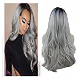 ATOZWIG Two Tones Synthetic Long Wave Heat Resistant Wig Free Part Ombre Black Rooted Silver Gray Wigs for Women