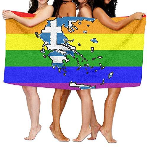 ghfghgfghnf Greece Map with Greek Flag Custom Beach Bath Towels Travel Shower Towel Beach Towels 31x51 Inches