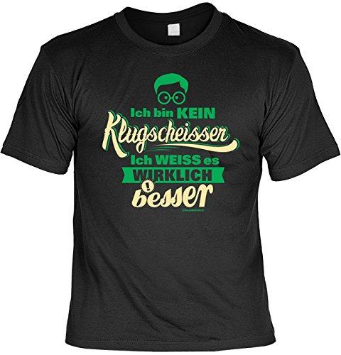 T-Shirt - Ich bin kein Klugscheißer - Ich weiß es wirklich besser - lustiges Sprüche Shirt für Besserwisser mit Humor - Geschenk Set mit Funshirt und Minishirt (Ein T-shirt Besseres)