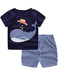 For 2-3 Years Old, ❤️ Xinantime Newborn Baby Boys Girls Cartoon Whale Tops Shirt+Pants Outfits Set