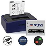 2 Batterie + Caricabatteria doppio (USB) per LI-90B LI-92B | Olympus Tough TG-Tracker | SH-1, 2… | XZ-2 | TG-1 ... TG-5 - Cavo USB micro incluso (2 batterie simultaneamente caricabili)