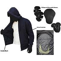 Chaqueta con capucha para motociclista con armaduras de kevlar, modelo Bravo, de MAXFIVE, chaqueta de verano con armaduras amovibles, moda para motociclistas, color negro