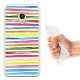 WoowCase Alcatel 1C DUAL SIM Hülle, Handyhülle Silikon für [ Alcatel 1C DUAL SIM ] Aquarell- farbige Streifen Handytasche Handy Cover Case Schutzhülle Flexible TPU - Transparent