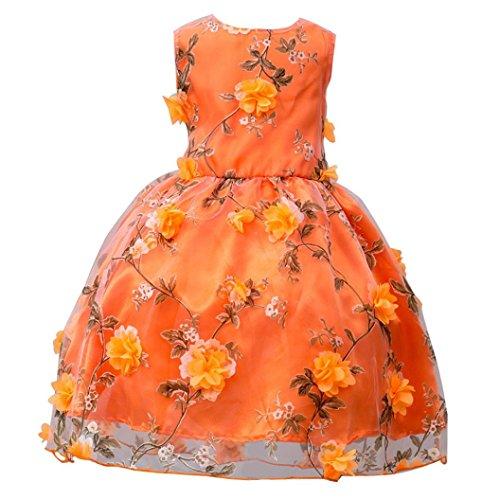 Mädchen kleid,Honestyi Mädchen ärmellosen Blume bestickt Prinzessin Rock Kleid Rock Kleid Einfarbig Blumen lange Prinzessin Kleid O-Ausschnitt Kleid (Orange, 9T/130CM) (Set Bestickte Hose Winter)
