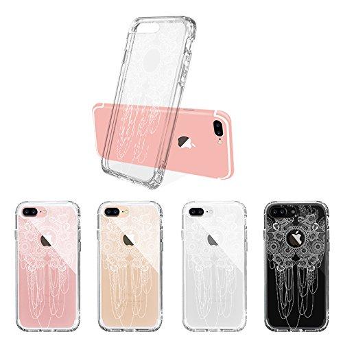 iPhone 7 Plus Hülle, MOSNOVO Weiß Henna Mandala Blumen Klar Entwurf TPU Bumper Rahmen mit Plastik Hart Case Durchsichtig Transparent Schutzhülle für Apple iPhone 7 Plus (5,5 Zoll), iPhone 7 Plus Case Lace Rose