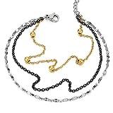 Argent Or Noir Acier Inoxydable Trois Rangées Femme Bracelets de Cheville avec Charms Pendantes Perle