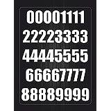 Akacha - Juego de imágenes adhesivas, 40 unidades, diseño de números, color blanco