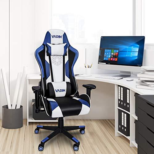 VADIM Chaise Fauteuil de Bureau Racing Sport Ergonomique, Chaise de Bureau Gaming Bleu et Blanche,...