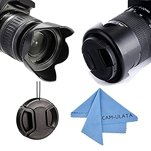 Lens Hood, CAM-ULATA 55mm Reversible Tulip Flower Lens Hood Kit Set for Canon Nikon Sony DSLR Camera and Lens Cap with Keeper Leash and Premium Microfiber Lens Cleaning Cloth