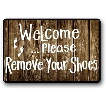 Custom machine washable door mat please take your shoes off indoor outdoor doormat 23 6 l x 15 - Remove shoes doormat ...