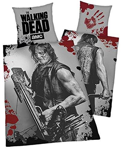 """Bettwäsche """"The Walking Dead amc Daryl Dixon"""" Bezug 135x200cm Kissen 80x80cm Wendemotiv Renforcé 100% Baumwolle mit Reißverschluss"""