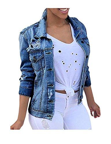 Minetom donne ragazze casual moda denim giacca manica lunga cappotto casuale capispalla jeansjacket outwear blu it 48