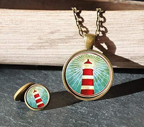 Polarkind Vintage maritimes Schmuckset Halskette lang mit Anhänger Cabochon Ohrstecker 12mm Motiv Leuchtturm handmade Wunschlänge