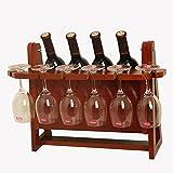 YXX- Hölzernes Hängendes 4 Flaschen-6 Glaswein-Gestell für Arbeitsplatten-Hölzerner Wein-Flaschen-Halter für Kühlraum (Größe : Red)