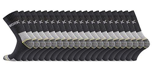 TippTexx24 Arbeitssocken mit Garantie, 6/9/12/15/18 oder 21 PAAR, Schadstofffrei nach Ökotex100. Normale Länge oder Kurzschaft-Socken (43/46, schwarz 21 Paar)