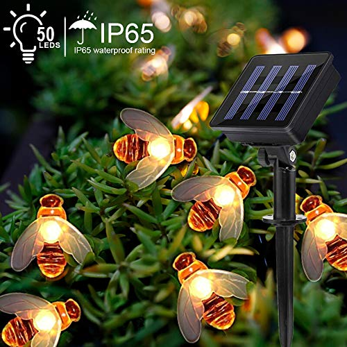 Solar Outdoor Garden String Lights - Suplong 8 Mode 50 LED Waterproof Honey Bees Fairy String Lights for Garden, Patio, Yard, Home, Christmas Tree, Parties, Warm White (24.6Ft)