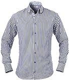 Sands Herren Hemd mit 3-Knopf-Kragen, blau gestreift mit blumen, L, 1509-168-160-L