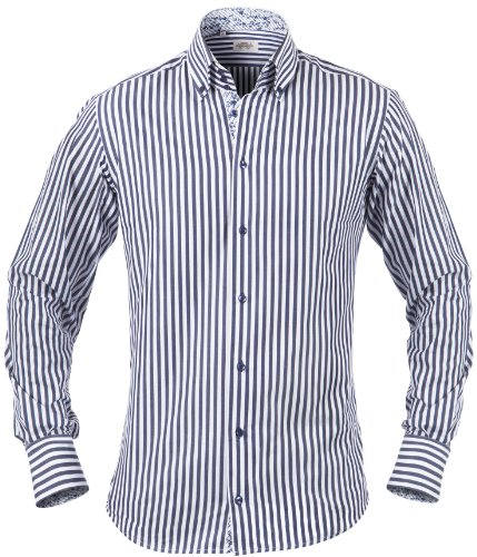 SANDS Herren Hemd mit 3-Knopf-Kragen, blau gestreift mit blumen, L, 1509-168-160-L -