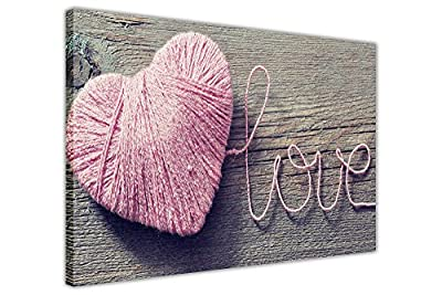 Love Pink Heart String On Framed Art Canvas Pictures Wall Decoration