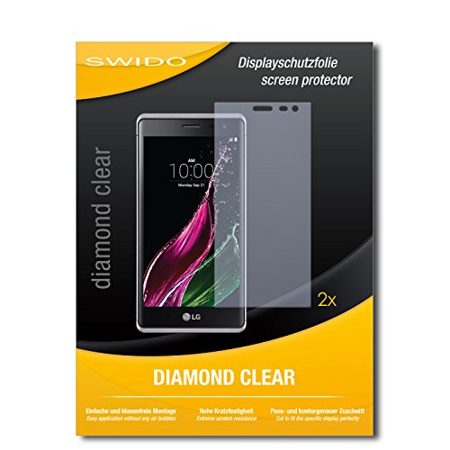 SWIDO 2 x Bildschirmschutzfolie LG Zero Schutzfolie Folie DiamondClear unsichtbar