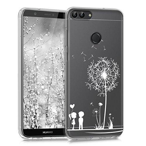 kwmobile Hülle für Huawei Enjoy 7S/P Smart - TPU Silikon Backcover Case Handy Schutzhülle - Cover Klar Pusteblume Love Design Weiß Transparent (Silikon Zuneigung)