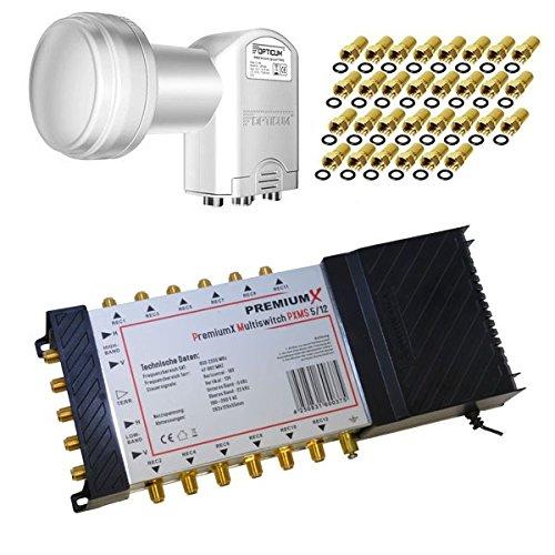 PremiumX Multischalter 5/12 Multiswitch mit Netzteil + Opticum Quattro LNB 0,1 dB HDTV + 30x F-Stecker GRATIS
