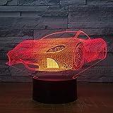 RQMQRL Cena Lámpara De Mesa Ferrari para El Coche 7 Colores Que Cambian La Lámpara De Escritorio Lámpara 3D La Novedad Llevó Las Luces De La Noche Luz Led