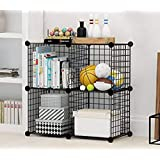 Aysis - Multi Use DIY 4 Cube Metallic Wire Storage Organiser, Book Shelf, Storage Cabinet, Kitchen Organiser,Multipurpose Very Strong Storage Rack - Black
