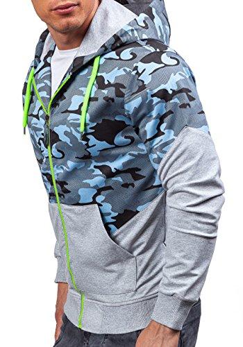 BOLF – Sweat-shirt à capuche – Manches longues –Fermeture éclair – ATHLETIC 0499 – Homme Gris