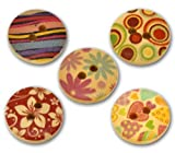 25Stück hilai Mix, mehrfarbig, Blumenmuster, 2Löcher, Holz-Knöpfe, 15mm zum nähen, Scrapbooking, Verzieren, Basteln, zur Schmuckherstellung, Shabby Chic, stricken,