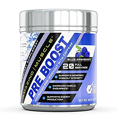 Amazing Muscle – PRE-BOOST-Advance Pre-Workout Formula with Caffeine, Beet root extract, BioPerine and more - Promotes Energy for an Intense Workout - Supports Enhanced Muscle Focus and Growth?– 400 grams container (Blue Raspberry) by Amazing Muscle