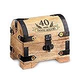 Casa Vivente - Contenitore in Legno Chiaro con Incisione - 40 Anni - Confezione per Regalo - Scatola Portaoggetti Vintage - Portagioie - Oggetti per la Casa - Idee Regalo Compleanno - 10 x 7 x 8,5 cm