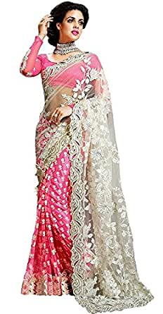 Lajree Designer Georgette Saree With Blouse Piece (Fba Zoya Pink_Pink_Free Size)