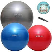 ResultSport® Anti-Burst Heavy Duty Swiss Exercise Ball with DVD, Poster and Pump, - Sizes 55/65/75cm - Yoga, Pilates, Cross Fitness, Core Training, Office Chair, Physical Therapy, Relieve Back Pain, improve balance