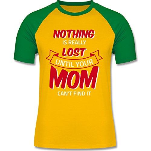 Statement Shirts - Nothing is lost until your Mom can't find it - zweifarbiges Baseballshirt für Männer Gelb/Grün