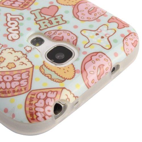 [A4E] Handyhülle passend für Samsung Galaxy S4 mini (i9190) Hülle Schutzhülle aus TPU Silikon mit Traumfänger / Wasserfarben Effekt Motiv (weiß, pink, blau, gelb) Donuts
